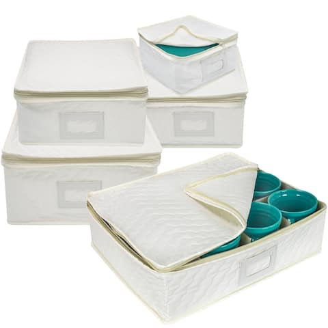 5 Piece Dish Storage Set Square - White