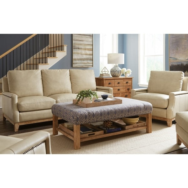 Sullivan Two Piece Taupe Leather Sofa And Chair Living Room Set On Free Shipping Today 26451495
