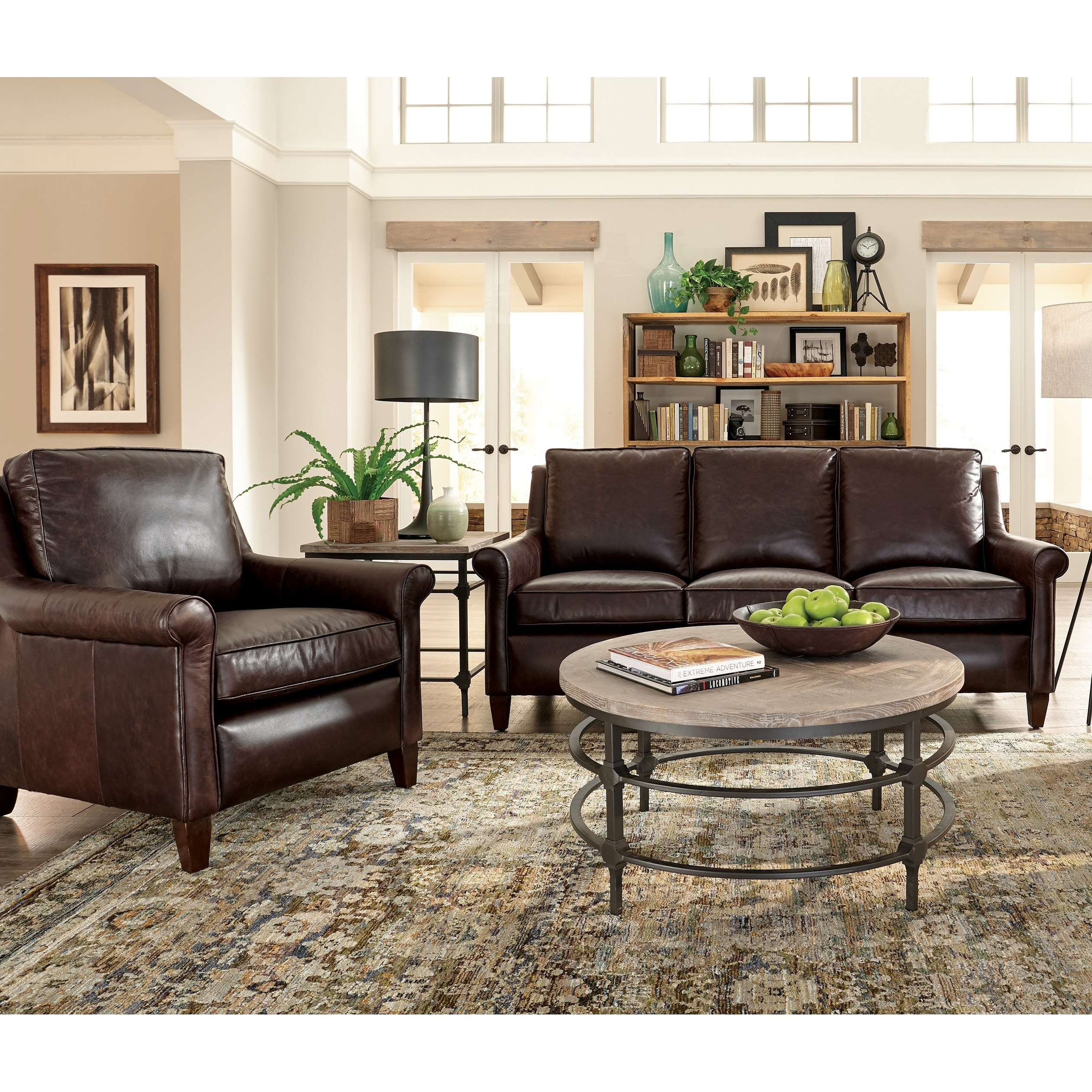 Jericho Two Piece Dark Brown Leather Sofa and Chair Living Room Set