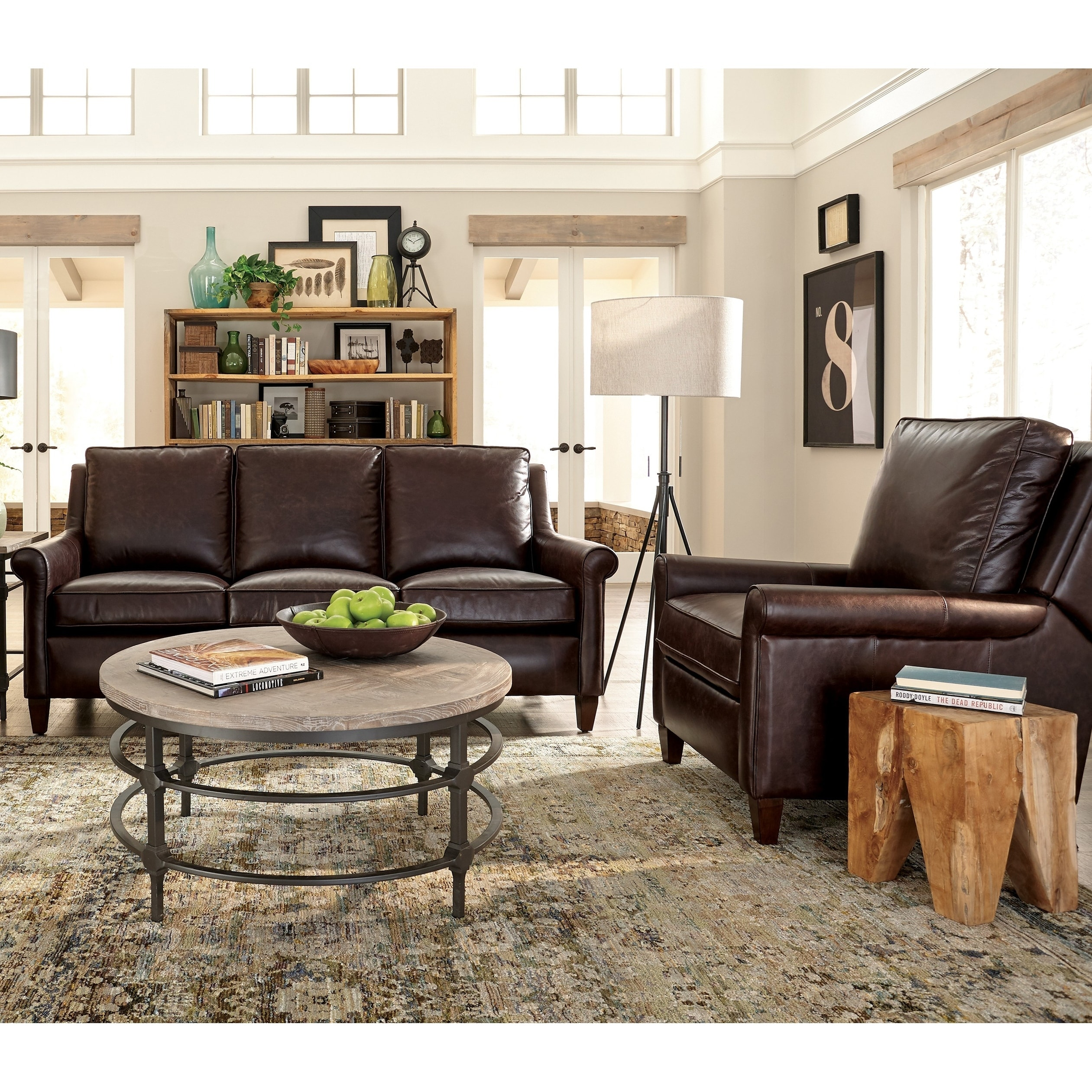Jericho Two Piece Dark Brown Leather Sofa And Recliner Living Room Set Overstock 26451520