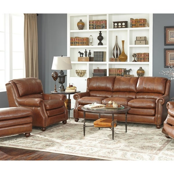 shop oliver two piece brown leather sofa and chair living room set on sale free shipping. Black Bedroom Furniture Sets. Home Design Ideas