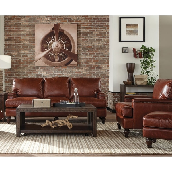 Oakland Two Piece Brown Leather Sofa And Chair Living Room Set On Free Shipping Today 26451525