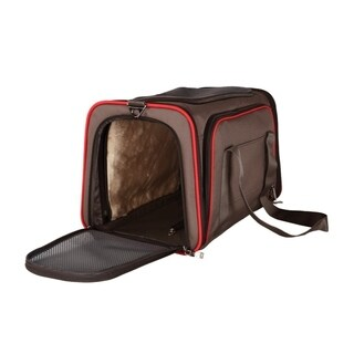 ALEKO Expandable Pet Travel Carrier 18 x 11 x 11 inch Airline Approved Brown
