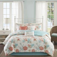 Madison Park Pacific Grove Coral Cotton California King Size Comforter Set (As Is Item)