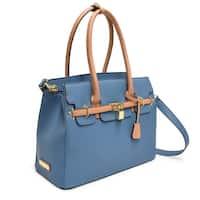 28a6f759aeb Adrienne Vittadini Triple Compartment Kelly Collection Pebble Grain Birkin  Bag