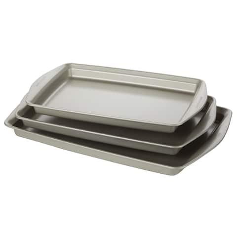 Rachael Ray 3-Piece Nonstick Bakeware Cookie Pan Set, Silver