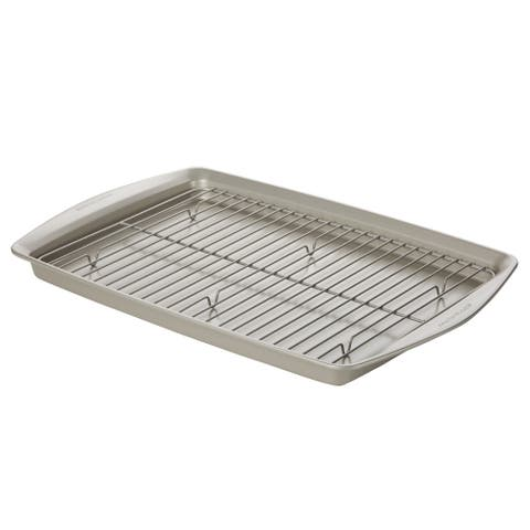 "Rachael Ray Bakeware 13"" x 9"" Cookie Pan with Roasting Rack, Silver"