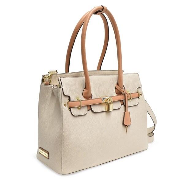 5865ca1d48 Adrienne Vittadini Triple Compartment Kelly Collection Pebble Grain Birkin  Bag