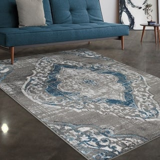 """Allstar Rugs Grey and Gainsboro Grey Traditional Hand Carved Rectangular Area Rug with Turquoise Design - 4' 11"""" x 7' 0"""""""