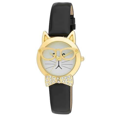 Vernier Women's Cat with Glasses Crystal Bow Tie Gold Watch Gold, Silver, Rosegold