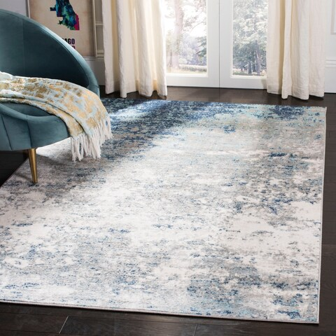 Safavieh Brentwood Vintage Abstract Light Grey/ Blue Rug - 6' x 9'