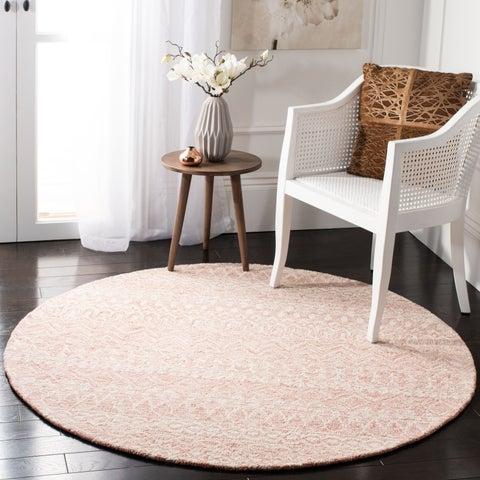 Safavieh Hand-Woven Micro-Loop Transitional - Pink/Ivory Wool Rug - 8' x 10'