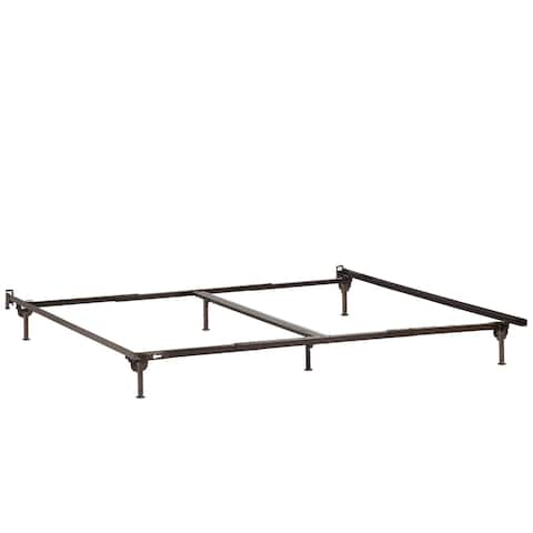 Atlantic Furniture Black Metal Twin, Full, Twin XL, Queen, King, or California King Bed Frame with Glides