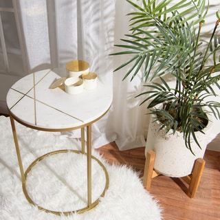 """Aurora Home Piers Inlay Round Marble Side Table - 18""""W x 18""""D x 22""""H"""