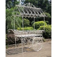 "Large Antique White Flower Cart w/ Moving Wheels ""Paris-1968"""