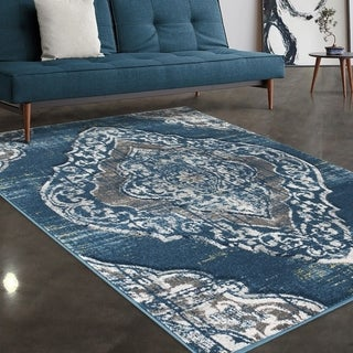 """Allstar Rugs Blue and Grey Traditional Hand Carved Rectangular Area Rug with Gainsboro Grey Design - 7' 5"""" x 9' 8"""""""