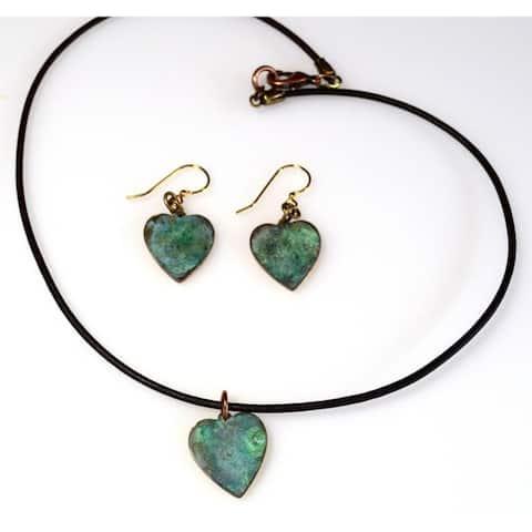 Handmade Patina Bohemian Chic Small Heart Pendant - Earrings Set (USA)