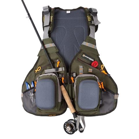 16 Pocket Fishing Vest  Lightweight Adjustable Nylon and EVA Foam Tackle Organizer Jacket for Fishing by Wakeman Outdoors