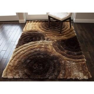 LA Rug Linens Brown Shag Shaggy SAD 419 Brown Design - 5' x 8'