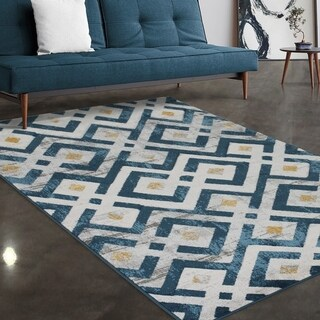 """Allstar Rugs Blue and Gainsboro Grey Modern Diamond Hand Carved Rectangular Area Rug with Yellow Design - 7' 5"""" x 9' 8"""""""