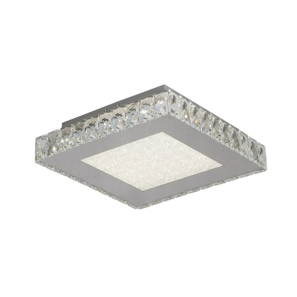 LED Flush Mount with Stainless Steel Frame and Clear Crystal. Opens flyout.