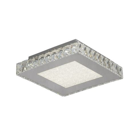 LED Flush Mount with Stainless Steel Frame and Clear Crystal