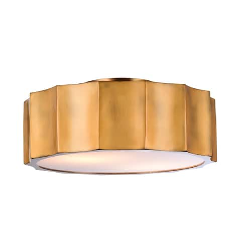 Brass Iron Flush Mount With White Bottom Cover