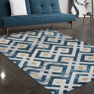 """Allstar Rugs Blue and Gainsboro Grey Modern Diamond Hand Carved Rectangular Area Rug with Yellow Design - 4' 11"""" x 7' 0"""""""