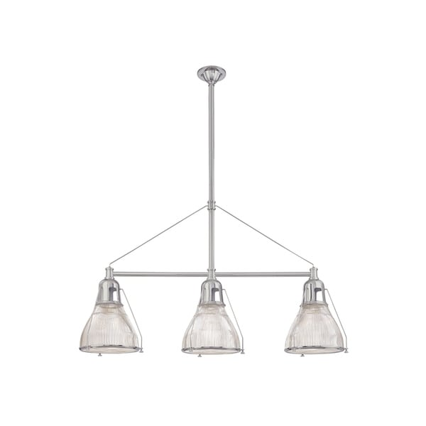 Hudson Valley Haverhill 3-light Satin Nickel Island Light, Clear Prismatic Glass Shade. Opens flyout.