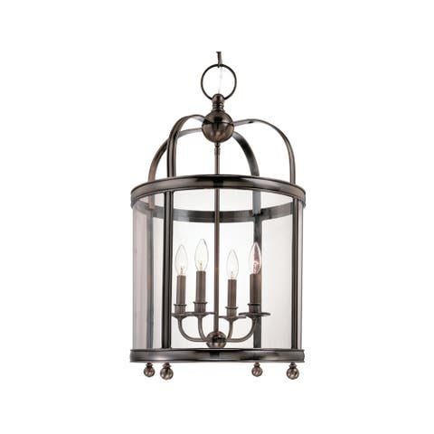 Hudson Valley Larchmont 4-light Historic Nickel Pendant, Clear Glass Shade