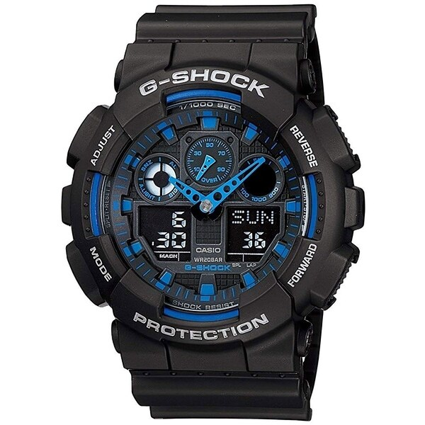 41953b699 Shop Casio G-Shock GA-100-1A2 X-Large G Analog-Digital Watch Black/ Blue -  N/A - N/A - Free Shipping Today - Overstock - 26452784