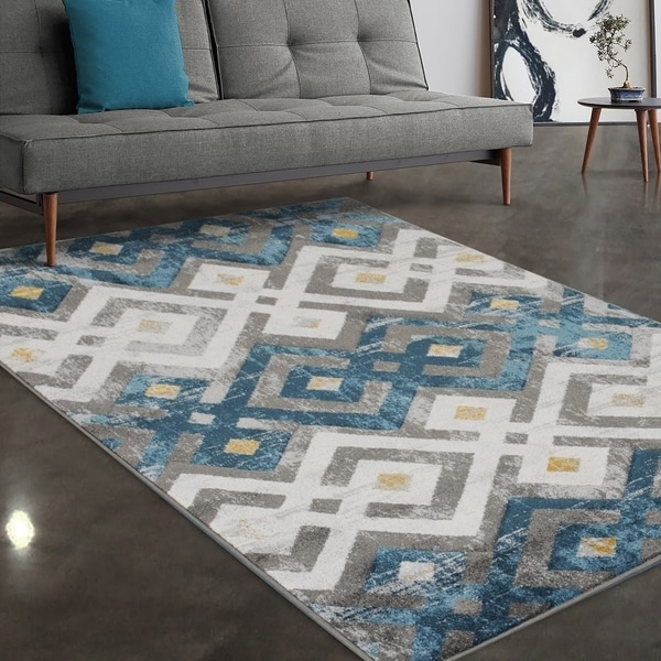 """Allstar Rugs Grey and Blue Modern Diamond Hand Carved Rectangular Area Rug with Yellow Design - 7' 5"""" x 9' 8"""""""