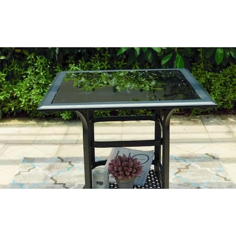 """Patio Festival 36"""" High Steel Table with Storage Shelf"""