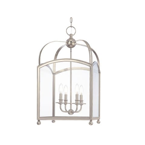 Hudson Valley Millbrook 4-light Polished Nickel Pendant, Clear Glass Shade