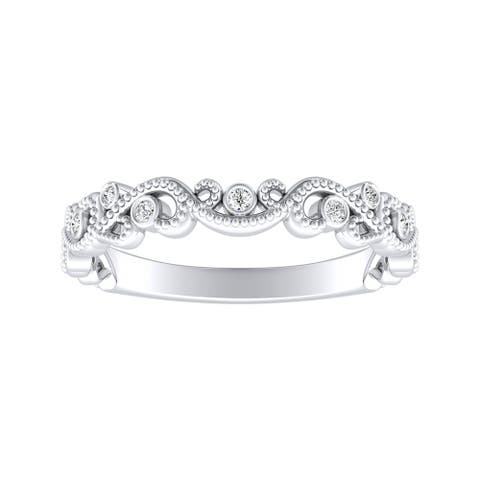 Auriya 0.06ctw Vintage Carved Stackable Diamond Wedding Band Platinum