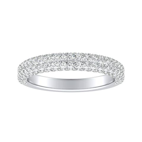 Auriya 3/4ctw Double Edged Pave Diamond Wedding Band Platinum