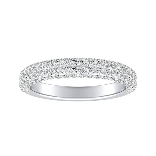 Auriya 3/4ctw Double Edged Pave Diamond Wedding Band Platinum. Opens flyout.