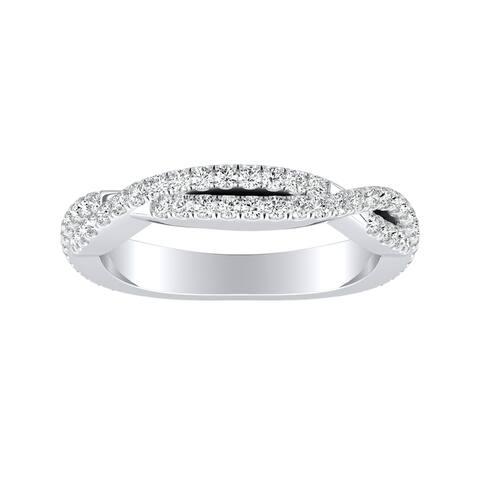 Auriya Platinum 1/2ct TDW Diamond Twisted Wedding Band