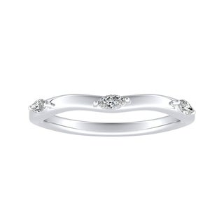 Auriya 1/10ctw Marquise Accent Diamond Wedding Band Platinum
