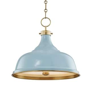 Hudson Valley Painted No.1 by Mark D. Sikes 3-light Aged Brass Pendant, Blue Bird Steel Shade