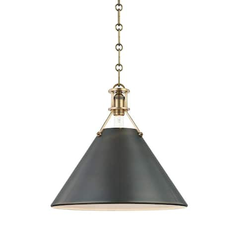 Hudson Valley METAL NO. 2 by Mark D. Sikes 1-light Aged Bronze 16-inch Pendant, Antique Distressed Bronze Brass Shade