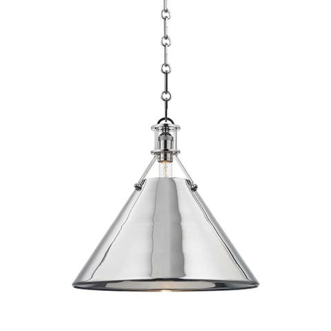 Hudson Valley METAL NO. 2 by Mark D. Sikes 1-light Polished Nickel 16-inch Pendant, Polished Nickel Brass Shade