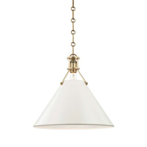 Hudson Valley Painted No.2 by Mark D. Sikes 1-light Aged Brass 16-inch Pendant, Off White Steel Shade