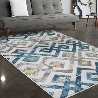 """Allstar Rugs Ivory and Grey Modern Diamond Hand Carved Rectangular Area Rug with Turquoise Design - 7' 5"""" x 9' 8"""""""