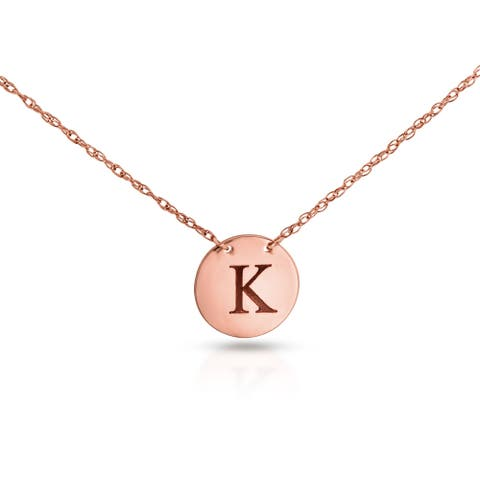 Annello by Kobelli Personalized Initial Pendant 14k Rose Gold