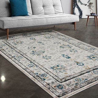 """Allstar Rugs Ivory and Grey Persian Hand Carved Rectangular Area Rug with Turquoise Design - 7' 5"""" x 9' 8"""""""