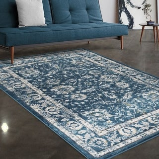"""Allstar Rugs Blue and Grey Persian Hand Carved Rectangular Area Rug with Ivory Design - 4' 11"""" x 7' 0"""""""