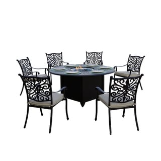 Casablanca Patio 7PC Fire Pit Dining Set with Cushions