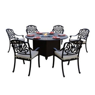 Sierra Madre Patio 7PC Fire Pit Dining Set with Cushions