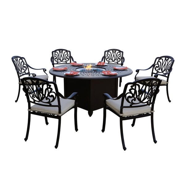 Peachy Shop Sierra Madre Patio 7Pc Fire Pit Dining Set With Download Free Architecture Designs Intelgarnamadebymaigaardcom